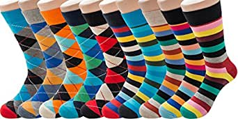 PUTON Men's Fun & Funky Colorful Cotton Dress Socks (10-Pack Classic)