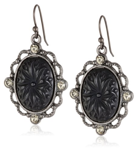 Womens Victorian Swimming Costume (1928 Jewelry Victorian Gothic Black Acrylic Oval Drop Earrings)