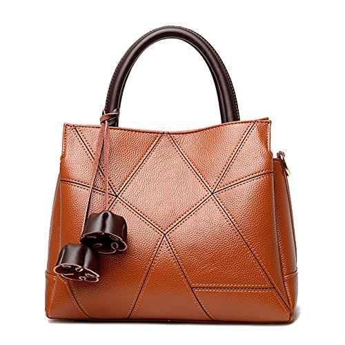 Top JUMENG Women for Brown Handle Luxury Purse Body Bag Cross Leather Tote rZqq6xf8w4