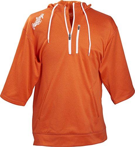Rawlings Men's Short Sleeve Hoodie, Burnt Orange, X-Large