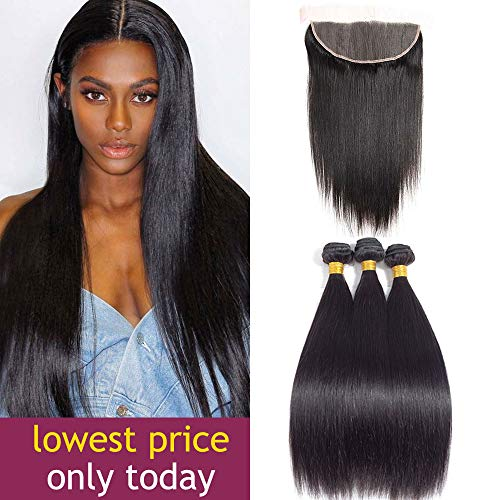 - Brazilian Straight Hair 3 Bundles with Frontal 13x4 Ear to Ear Lace Frontal Closure Unprocessed Human Hair Frontal and Bundles Natural Color (14 16 18with 12, natural color)