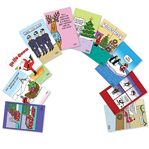 10 Boxed Three Wise Guys Assorted Merry Christmas Cards w/ Envelopes - Featuring Funny Xmas Cartoons - Cute Animals, Dancing Santa and More A Happy Holidays and Seasons Greetings Gift A5562XSG-B1x10