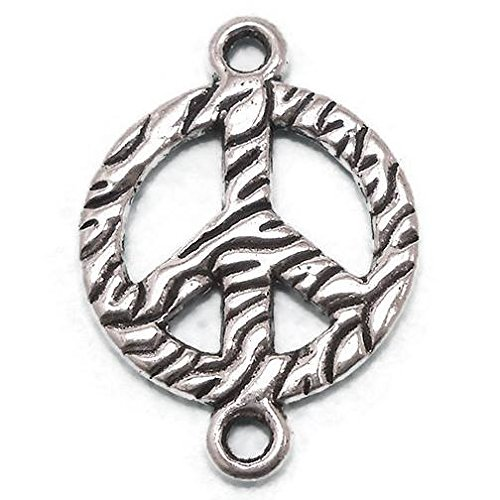 10 Peace Sign Connector silver -