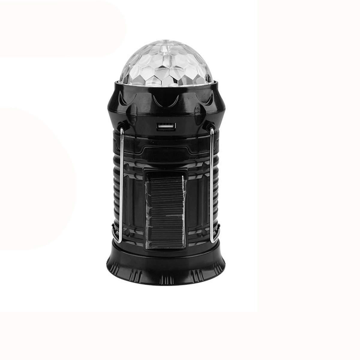 Solar Power Rechargeable LED Flashlight Camping Tent Light Torch Lantern Lamp (Black)