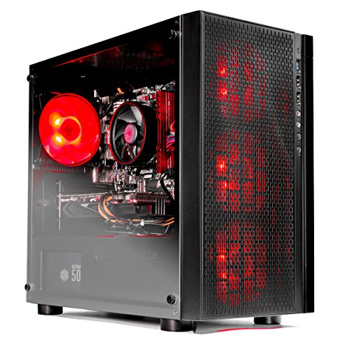 SkyTech [RX580 Version] Blaze VR Ready RGB Gaming Computer Desktop PC - Ryzen 1200 3.1GHz Quad-Core, AMD RX 580 4GB, 8GB DDR4 2400, 1TB HDD, Wi-Fi, Windows 10 Home 64-bit (Best Amd Quad Core For Gaming)