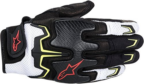 NEW ALPINESTARS FIGHTER AIR ADULT LEATHER GLOVES, BLACK/WHITE/YELLOW/RED, MED/MD