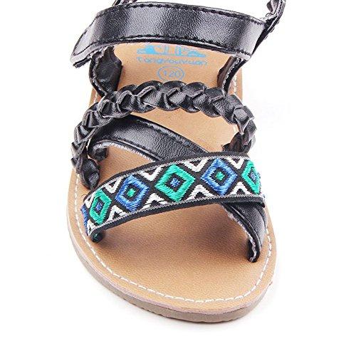 etrack-online bebé niñas piel sintética goma suave soled exterior Verano Sandalias Zapatos negro negro Talla:12-18month negro