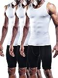 Neleus Men's 3 Pack Mesh Compression Tank Top Athletic Base Layer,802,White,S,EUR M