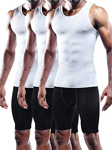 Neleus Men's 3 Pack Mesh Compression Tank Top Athletic Base Layer,802,White,XL,EUR 2XL