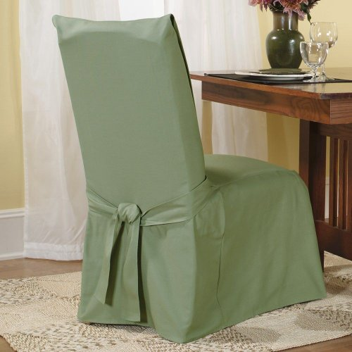 SureFit  Cotton Duck Fabric Dining Room Chair Slipcover, Sage Duck Short Dining Chair Slipcovers