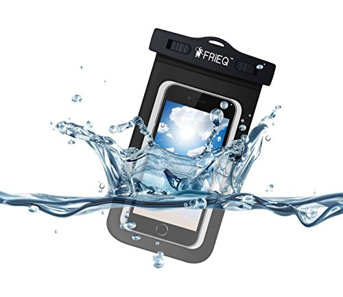 FRiEQ Universal Waterproof Case for Outdoor Activities - Waterproof bag for Apple iPhone 7, 7 Plus, 6S, 6S Plus, 6, 6 Plus, 5S; Galaxy S6, S4; HTC One X, Galaxy Note 3, Note 2; LG G2 - IPX8 Certified to 100 Feet (Black)