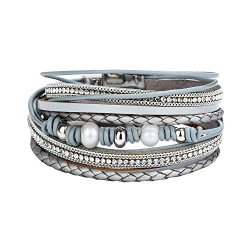 Sinfu Men Women Mix Multi-Style Multi-Layer Simple Cross Braided Cattle-Like Leather Bracelet Multi-Layer Full Drill Cuff Bangle Alloy Magnetic Clasp Jewelry Wristbands ()