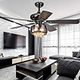 Akronfire Crystal Ceiling Fan with 5 Reversible Wood Blades Modern ceiling light Remote Control Mute Fan for Decorating Living Room Dining Room 52 Inch