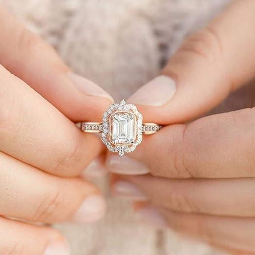 ad3c354cf32c6 Amazon.com: Barhalk Luxury Zircon Ring Wedding Band Ring Shiny ...