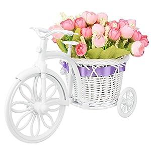 Takefuns Garden Nostalgic Bicycle Artificial Flower Decor Plant Stand Mini Garden for Home Wedding Decoration 62