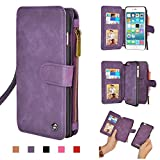 """Cornmi iPhone 6s Case, Multifunctional Leather Zipper Wallet Detachable Flip Cover Coin Purse, 14 Card Slots Stand Case for iPhone 6 4.7"""", iPhone 6s 4.7"""" (Purple for iPhone 6/6s 4.7"""")"""