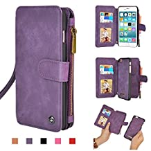 "Cornmi iPhone 6s Case, Multifunctional Leather Zipper Wallet Detachable Flip Cover Coin Purse, 14 Card Slots Stand Case for iPhone 6 4.7"", iPhone 6s 4.7"" (Purple for iPhone 6/6s 4.7"")"