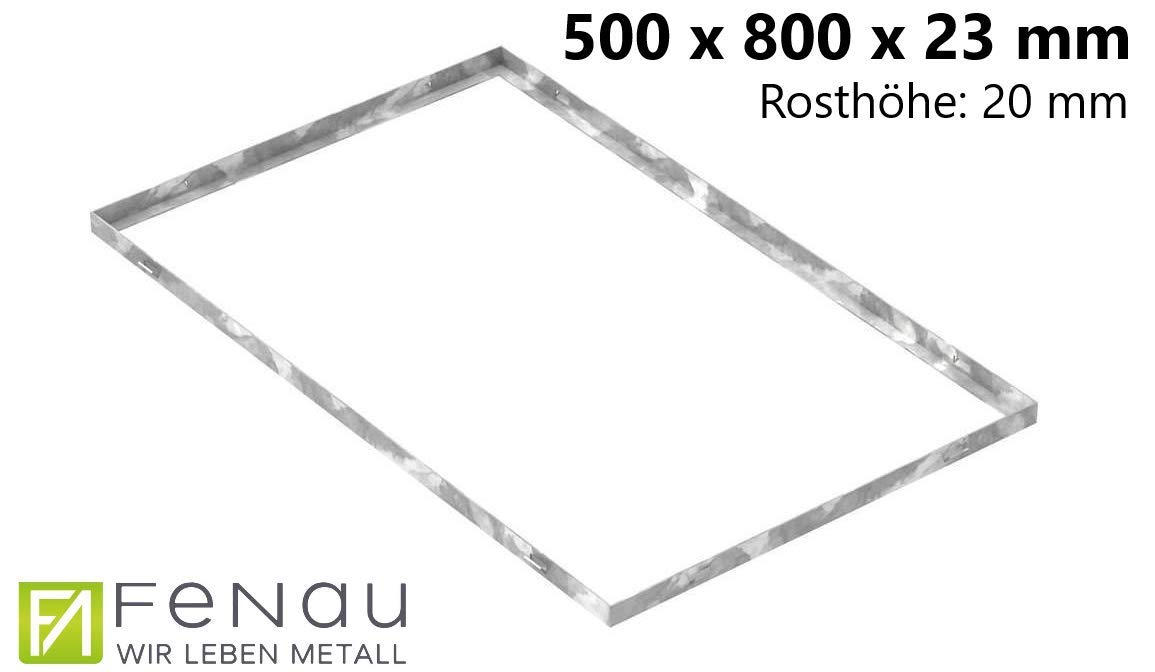 pour caillebotis: 590 x 990 x 20 mm Fenau Cadre pour caillebotis - Dimensions : 600 x 1000 x 23 mm pour grilles d/'une hauteur de 20 mm - en acier