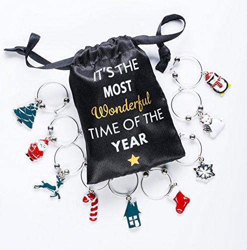 Christmas Wine Glass Charms (Cork & Leaf Hand Painted Christmas Wine Glass Charms with Sateen Storage Bag - Set of 9)