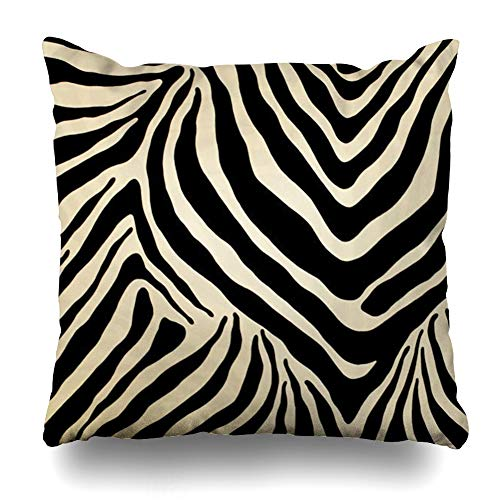 InnoDIY Throw Pillow Covers Black and Beige Zebra Stripes Pattern Design Pillowslip Square Size 20 x 20 Inches Cushion Cases Pillowcases