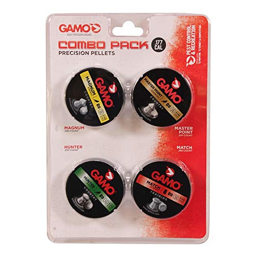 Gamo 632092954 Air Rifle Pellets Combo Pack.177 Caliber, Quantity 1000 (Magnum, Masterpoint, Hunter, Match)