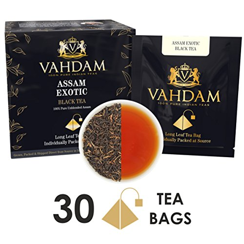 VAHDAM, Assam Black Tea (30 Tea Bags) - Long Leaf Assam Tea Bags - RICH & MALTY - Breakfast Tea Bags, FTGFOP1 Grade, 100% Certified Pure Unblended Assam Tea Loose Leaf - 15 Pyramid Tea Bags (Set of 2) by Vahdam
