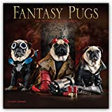 Fantasy Pugs 2018 12 x 12 Inch Monthly Square Wall Calendar by Wyman, Funny Animals