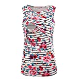 Women's Sleeveless Maternity Breastfeeding and Nursing Tank Top Cami Vest (L, White)