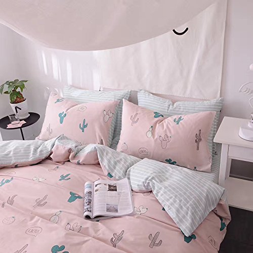 HIGHBUY Cactus Print Kids Duvet Cover Set Full 100% Cotton Pink Striped Children Duvet Cover with Zipper Closure 3 Piece Reversible Bedding Set Queen for Girls by HIGHBUY (Image #6)