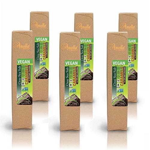 Organic Vegan Gray Salt Caramels in 72% Dark Chocolate, 16.8 ounces (6 packs - 6 pcs/pack) by Amella (Image #2)