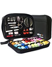 Travel Sewing Repair KIT, Premium Set w/Over 100 Supplies & 24-Color Threads & Needles | Compact, Portable Mini Mending Button Sew Kits - Sowing Accessories Easy to Use for Adults & Beginners