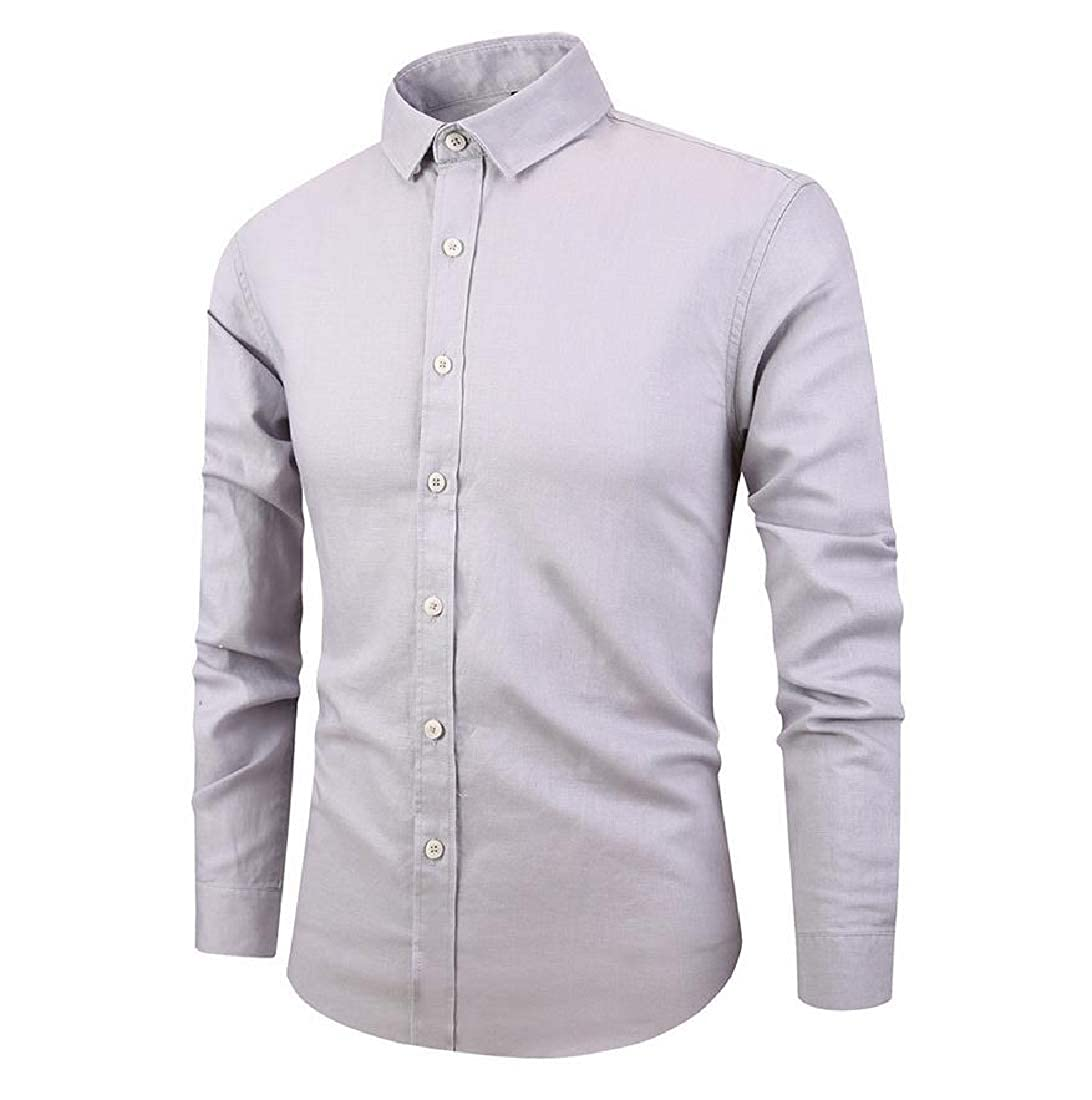 Abetteric Mens Solid Hipster Tailored Fit Long-Sleeve Plus Size Dress Shirt