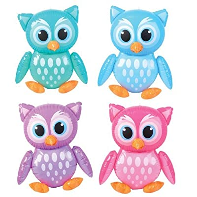 "4 Adorable 24"" Owl Inflates - Birthday Party Colorful DECORATIONS/Decor/FAVORS/Inflatables/You're A HOOT/Owlet by RIN: Toys & Games"