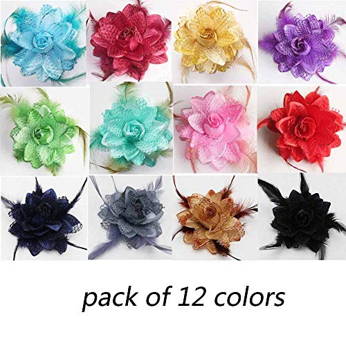 12 Color 4 Inch Elegant Feather Flower Hair Clip Bows For Men Women Lady Baby Girls Fabric Wedding Party Hairpin (12Pcs Mix Color Without Clips)