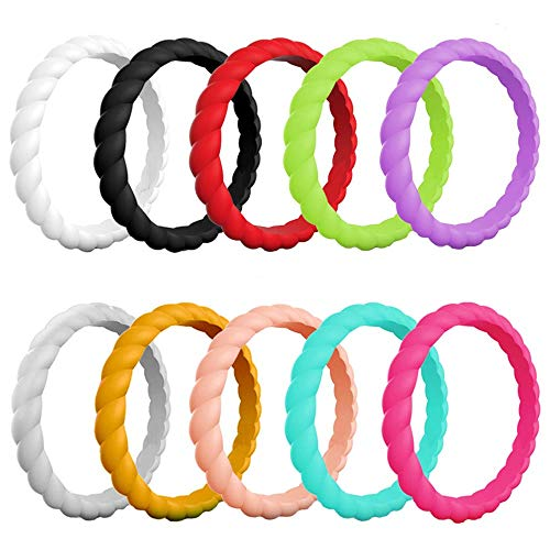 (AWLY 10 Pack Multiple Colors Braided Silicone Wedding Band for Women Stackable Rubber Sports Ring 3mm Size 7)