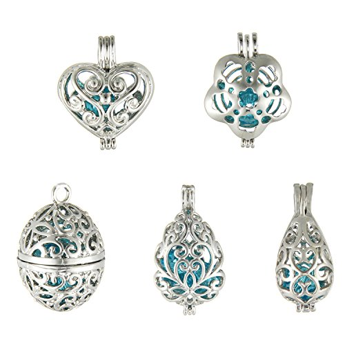- 10Pcs Teardrop Retro Pearl Bead Cage Pendant - Aromatherapy Essential Oil Diffuser Charms for Bracelet Necklace Jewelry Making Mother's Day Gift