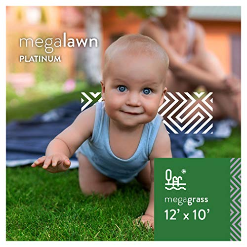 MEGAGRASS MegaLawn Platinum 12 x 10 Ft Artificial Grass for Pet Lawn and Landscaping Outdoor or Indoor Green Faux Fake Grass Decor Mat Rug Carpet Turf 120 SqFt 1.88 Tall Blades 92 oz Face Weight