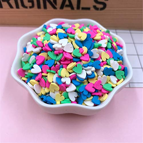 MJ-Young Wall Stickers 50G/Lot Cute Clay Sprinkles,Colorful Heart Five Star Bow Candy Sprinkles for Crafts Making,DIY heart1
