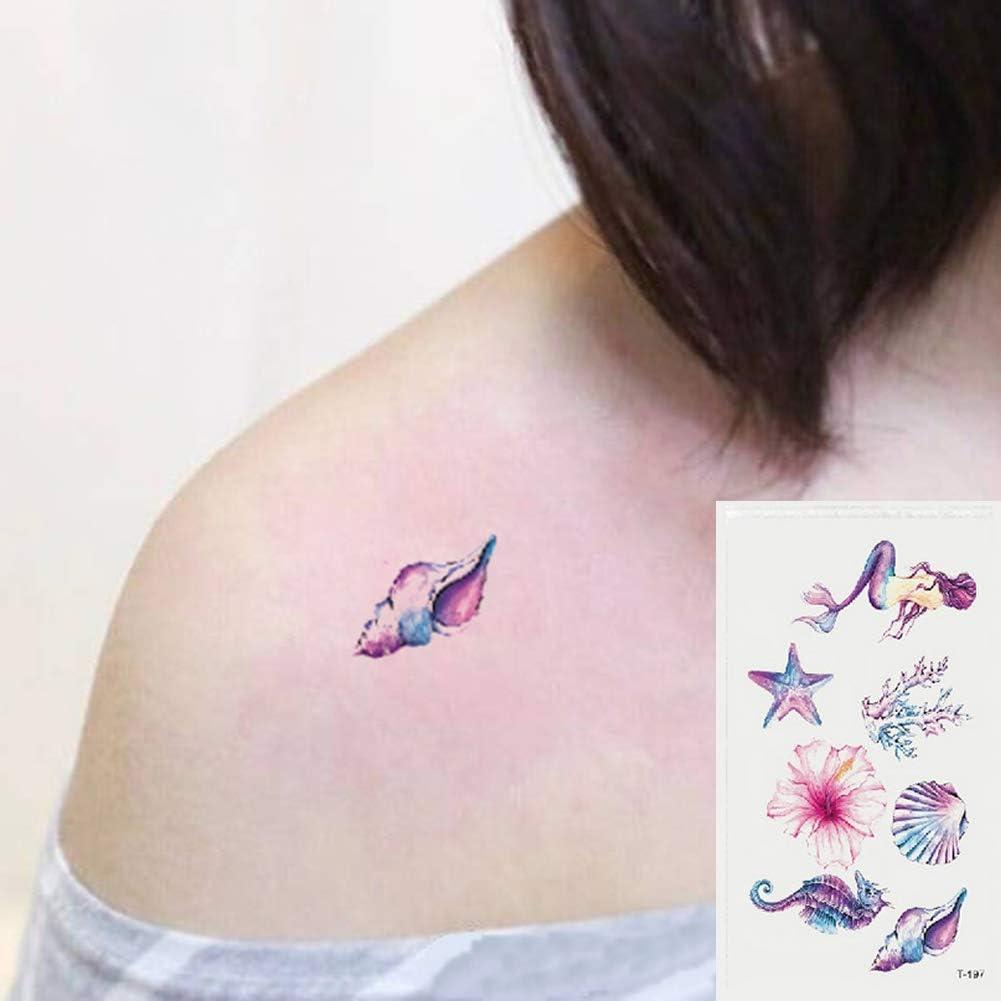 Oottati 2 Hojas Pequeño Lindo Tatuaje Temporal Tattoo Sirena De ...
