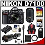 Nikon D7100 Digital SLR Camera and 18-105mm VR DX AF-S Zoom Lens (Black) with 55-300mm VR Lens + 500mm Tele Lens + 32GB Card + Battery + Backpack + Accessory Kit, Best Gadgets
