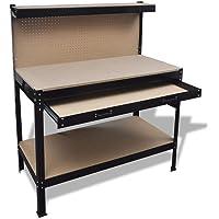 vidaXL Workbench with Pegboard and Drawer Garage Tool Storage Shelf Workshop