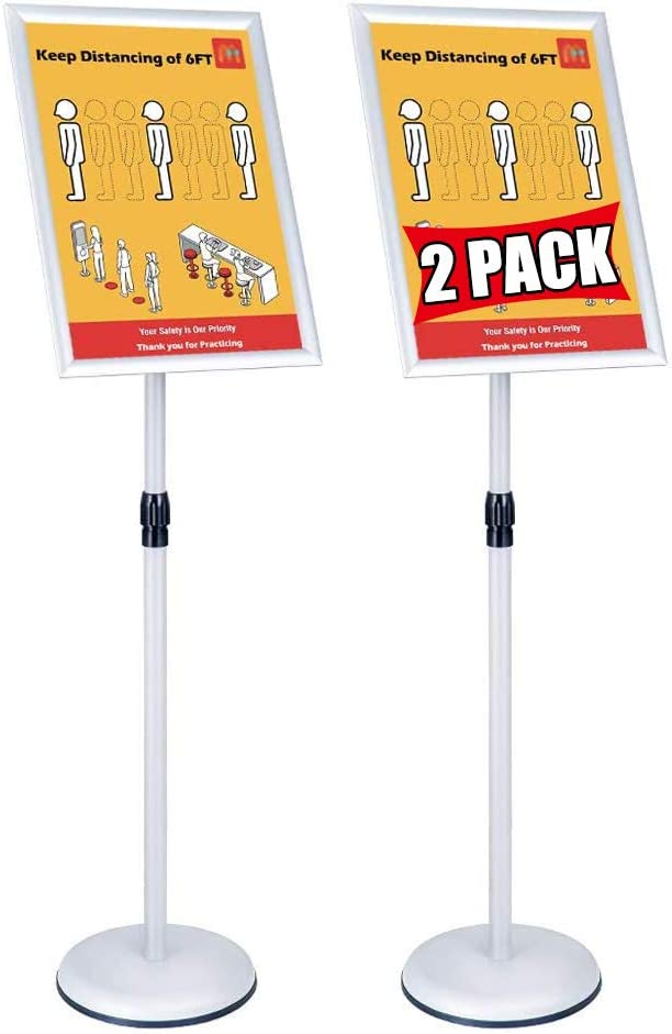 Poster Office Sign Stands Holder, Adjustable Floor Sign Stand for Shopping Guide Billboard Wedding Signs Meeting Poster Signs,Vertical and Horizontal View Display (Silver, 8.5x11inches(2Pack))