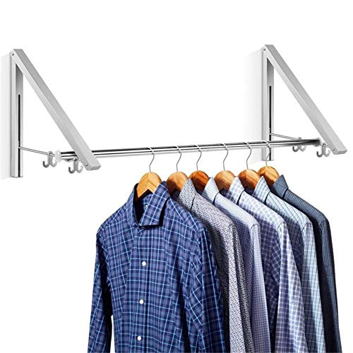 Aluminum Clothes Hanging System Wall Mounted Folding Clothes Hanger Retractable Easy Installation Home Storage Organizer (2)