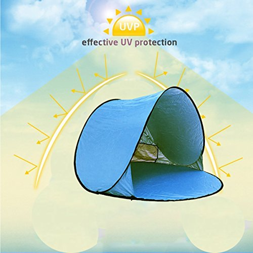 RIJER Automatic Pop Up Instant Portable Outdoors Beach Tent XXL Lightweight Portable Family Sun Shelter Cabana with Carry Case & Stakes