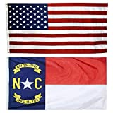 Cheap US Flag with North Carolina State Flag 3 x 5 – 100% American Made – Nylon