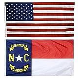 US Flag with North Carolina State Flag 3 x 5 - 100% American Made - Nylon