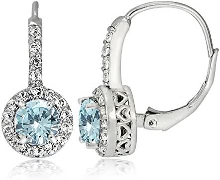 Sterling Silver Light Aquamarine and White Topaz Round Leverback Earrings