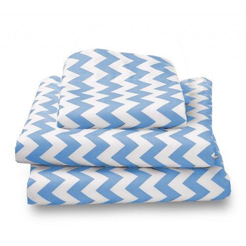bkb Chevron Toddler Sheet Set, Blue by bkb