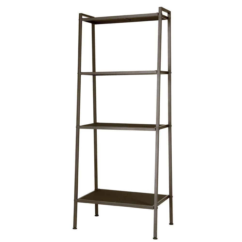 SINGAYE Ladder Shelf 4-Tier Bookshelf, Ladder Plant Stand Shelf, Storage Rack Shelves for Office, Bathroom, Living Room Brown
