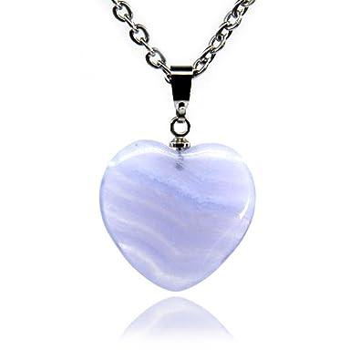 Amandastone Gemstone Natural Blue Lace Agate Heart Charm Pendant Necklaces 18 bvAxYtz